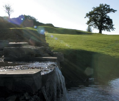 Water feature at the 18th Hole, The Twenty Ten Course, Celtic Manor