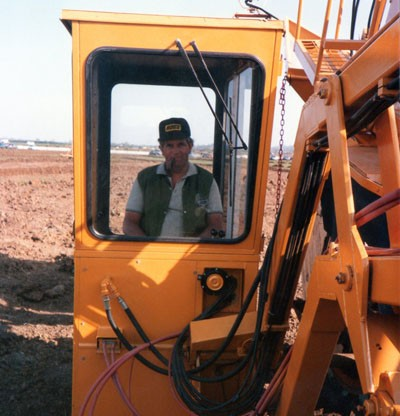 Michael Abbott at the Farmers Weekly drainage event (1980s)