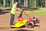 Used for seeding green surrounds and other contoured areas. Double drive allows machine to work on slopes of up to 40°.