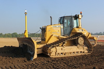 CAT D6N bulldozer with 3D total station attachment
