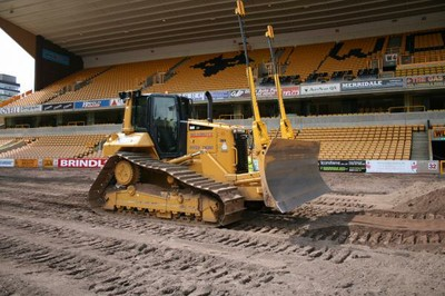 CAT D6N bulldozer with laser grading attachment