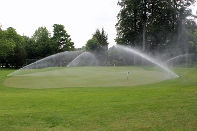 Irrigation operating on chipping green constructed by MJ Abbott