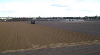 Sand application in progress