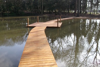 Completed Opepe hardwood decking and contemplation area