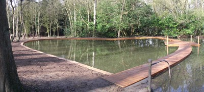 Completed Victorian swimming pool area with Opepe hardwood decking and contemplation area