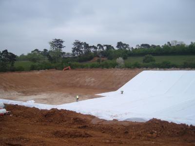 Geotextile underlay being installed