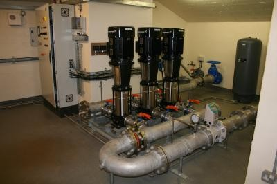 Pump station installed within the Chapel cellar