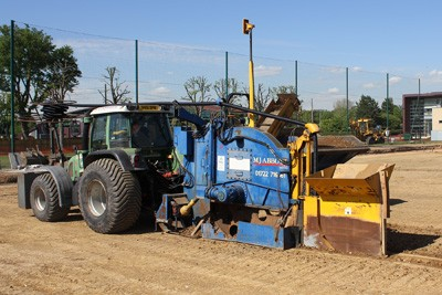 Primary drainage installation on match pitch