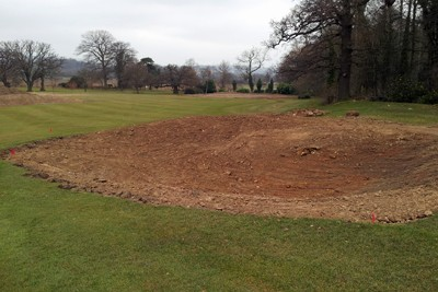 New fairway bunkers and greens complex on 1st Hole following initial shaping works