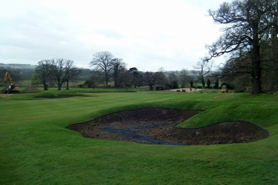 New fairway bunkers on 1st Hole following turfing