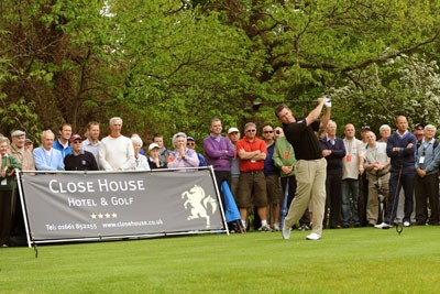 Lee Westwood tees off on The Colt Course at Close House