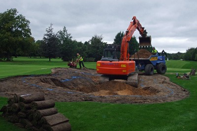 Hole 2 - Shaping greenside bunker
