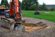Shaping greenside bunker - Hole 2