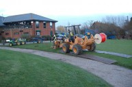 Moleploughing lateral pipework around the putting green