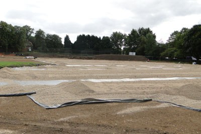 2-6mm gravel placed between drainage runs ready for Advanedge laying