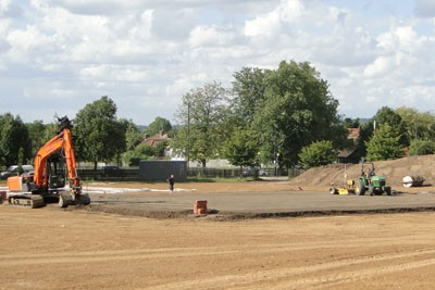 Laser grading to cricket square