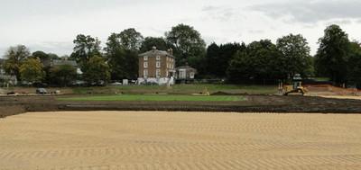 Topsoil re-spread over gravel raft around establishing cricket square