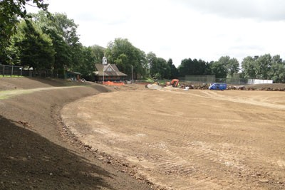 View towards pavilion following subsoil shaping during sewer diversion works