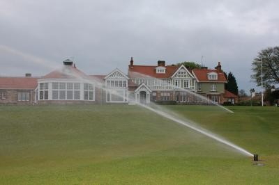 Sprinklers operating on the 18th Green