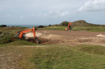 Stripping topsoil from the 12th Green surrounds