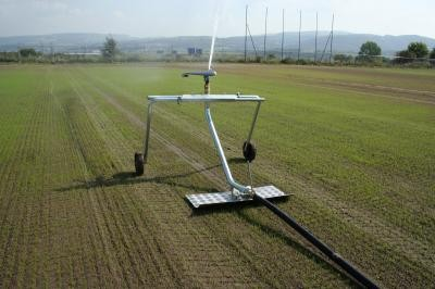 Hose reel irrigation in operation
