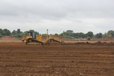 Cut and fill earthworks to form pitch plateau