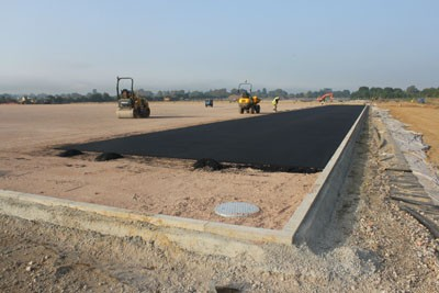 Installation of 3G pitch rubber shockpad