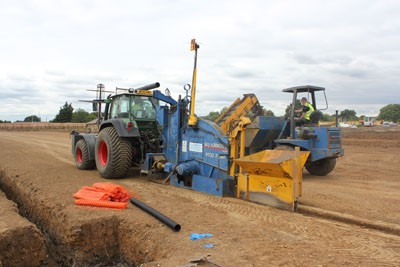 Installation of primary drainage trenches