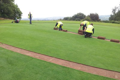 Removing turf on 4th Green