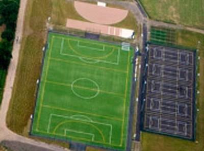 Aerial view of artifical sports facilities