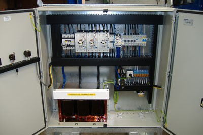 Internal view of control panel