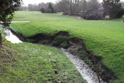 View of slippage to embankment at 9th Tee