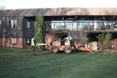 Installation of putting green pipework