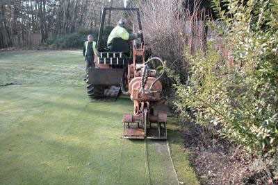 Moleploughing pipework around the putting green