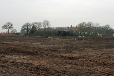 Looking from new drive to marked out front lake, prior to earthworks
