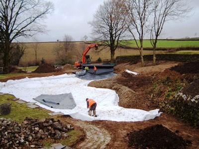 Installation of pond liner