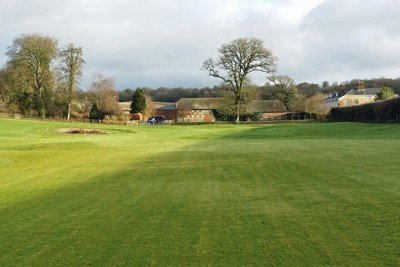 3rd Fairway and approach during grow-in maintenance
