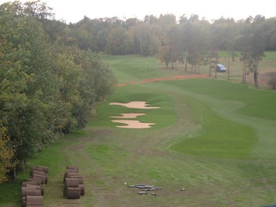 Completed fairway bunkers and fairway re-alignment
