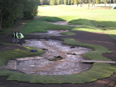 Preparation and turfing works to fairway bunkers