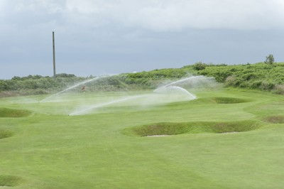 Sprinklers in action at Royal Cromer Golf Club