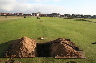 Pipework installed on the 18th Fairway
