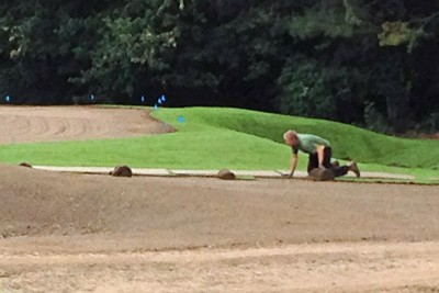 Laying turf to green surrounds