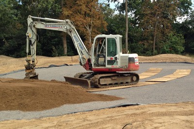 Placing rootzone on newly constructed green
