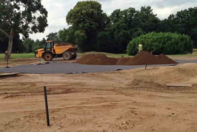 Rootzone delivered to newly constructed green for placement