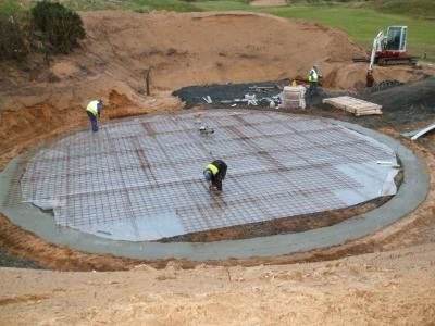 Installation of concrete base
