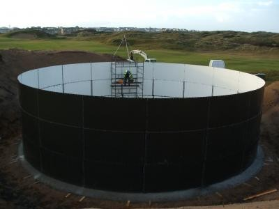 Tank walls being constructed