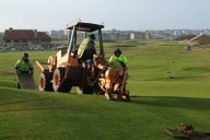 Moling fairway lateral pipework on the Dunluce Links