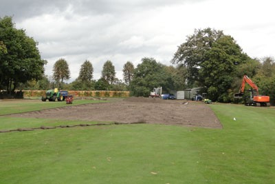 Initial turf stripping of 18th Green and approach