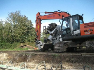 Concrete backfill placement