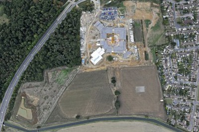 Aerial view during construction of facilities